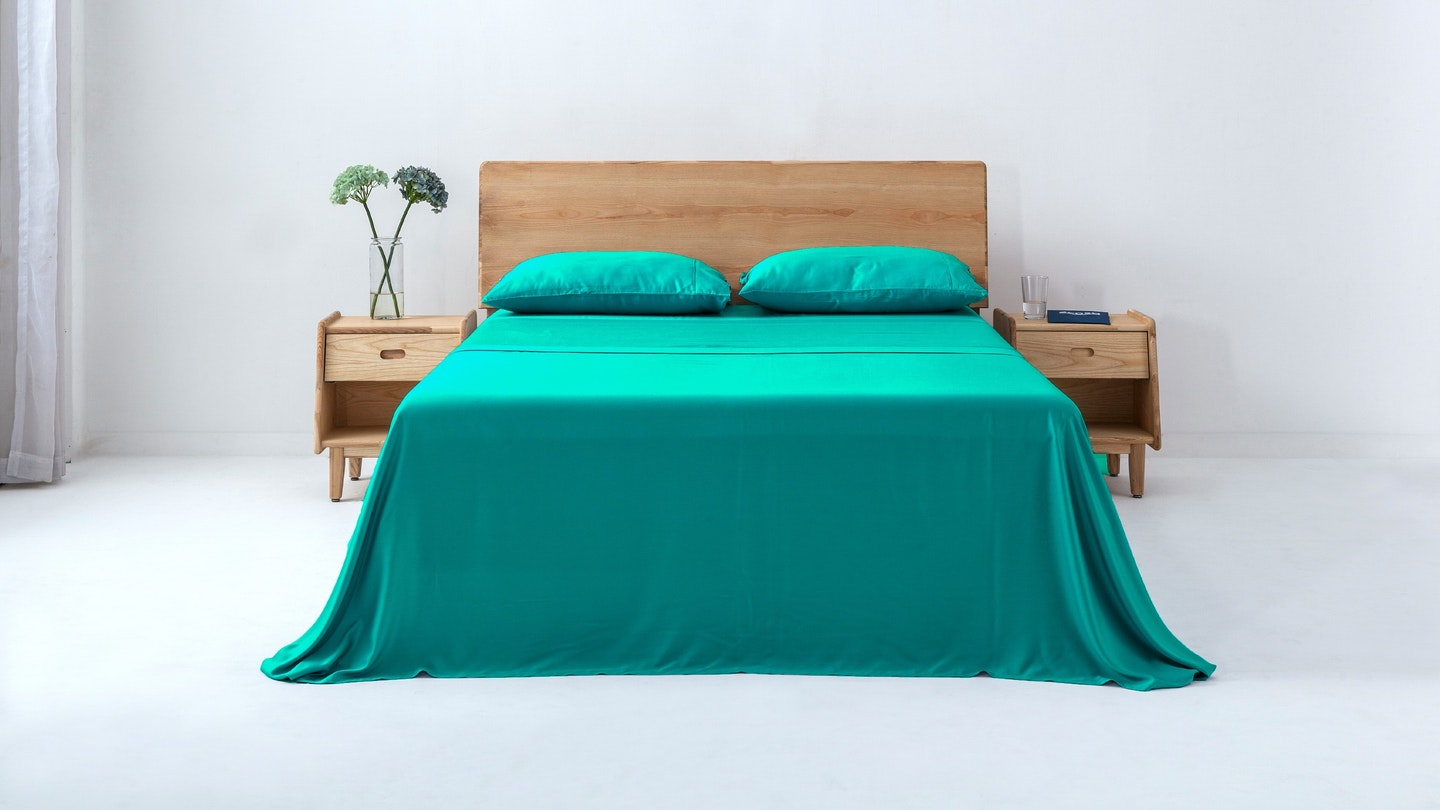 Ecosa lake blue bamboo sheet set