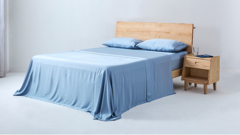 Ecosa light blue bamboo sheet set