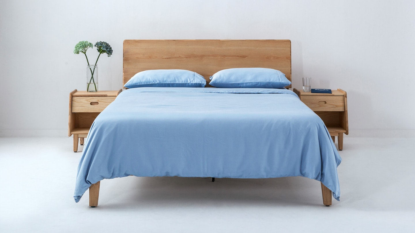 Ecosa light blue bamboo duvet cover set