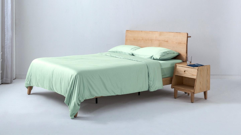 Ecosa light green bamboo duvet cover set